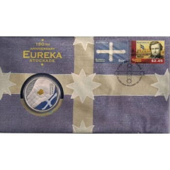 2004 AUSTRALIAN EUREKA STOCKADE FIRST DAY COIN AND STAMP COVER