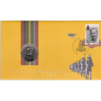 1995 AUSTRALIAN REMEMBERS FIRST DAY COIN AND STAMP COVER