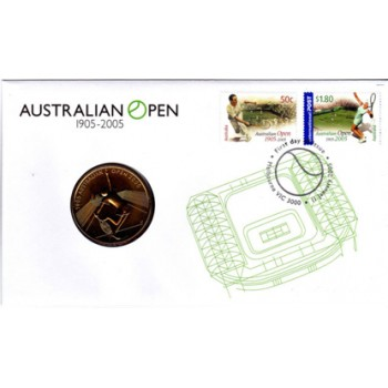 2005 AUSTRALIAN TENNIS OPEN FIRST DAY COIN AND STAMP COVER