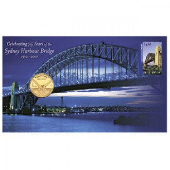2008 75TH ANNIVERSARY OF SYDNEY HARBOUR BRIDGE FIRST DAY COIN AND STAMP COVER