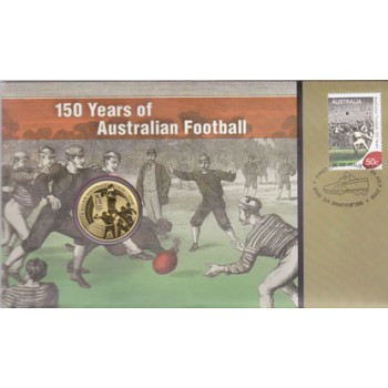 2008 AUSTRALIAN 150th YEARS OF AFL FIRST DAY COIN AND STAMP COVER