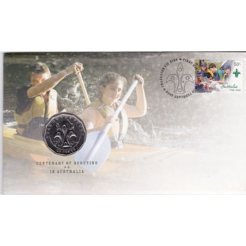 2008 AUSTRALIAN 100 YEARS OF SCOUTS FIRST DAY COIN AND STAMP COVER