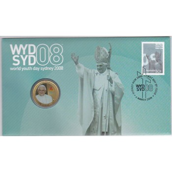 2008 AUSTRALIAN WORLD YOUTH DAY FIRST DAY COIN AND STAMP COVER