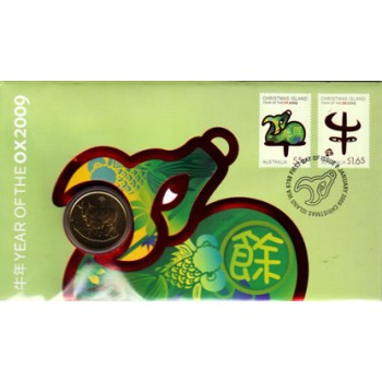 2009 YEAR OF THE OX FIRST DAY COIN AND STAMP COVER
