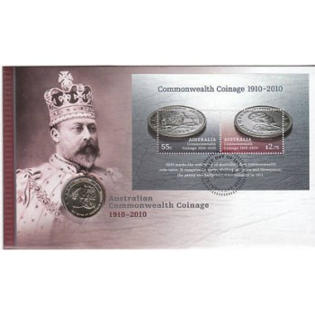 2010 AUSTRALIAN 100 YEARS OF COINAGE FIRST DAY COIN AND STAMP COVER