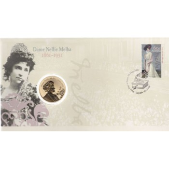 2011 AUSTRALIAN DAME NELLIE MELBA FIRST DAY COIN AND STAMP COVER