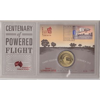 2010 CENTENARY OF POWERED FLIGHT FIRST DAY COIN AND STAMP COVER