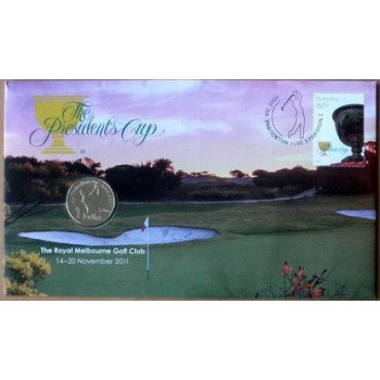 2011 THE PRESIDENTS CUP FIRST DAY COIN AND STAMP COVER