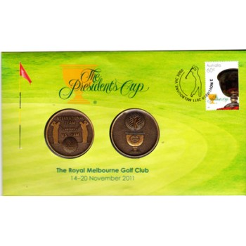 2011 THE PRESIDENTS CUP FIRST DAY COIN AND STAMP COVER - MEDALLION SET
