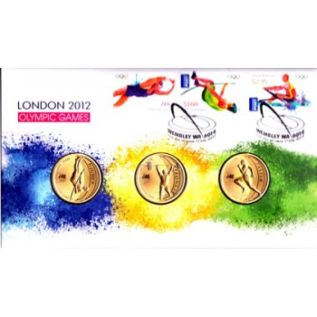 2012 LONDON OLYMPIC GAMES FIRST DAY COIN AND STAMP COVER - 3 COINS