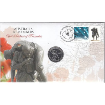 2010 AUSTRALIAN REMEMBERS LOST SOLDIERS OF FROMELLES FIRST DAY COIN AND STAMP COVER