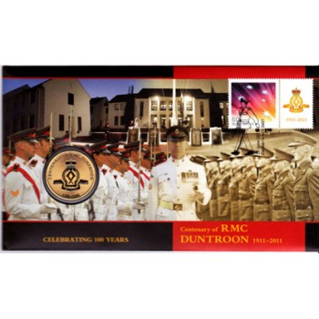 2011 AUSTRALIAN 100 YEARS OF RMC DUNTROON FIRST DAY COIN AND STAMP COVER