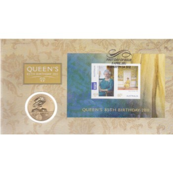 2011 QUEEN ELIZABTH II 85TH BIRTHDAY FIRST DAY COIN AND STAMP COVER