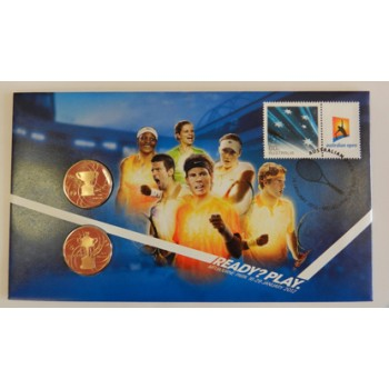 2012 AUSTRALIAN OPEN FIRST DAY COIN AND STAMP COVER - 2-COINS