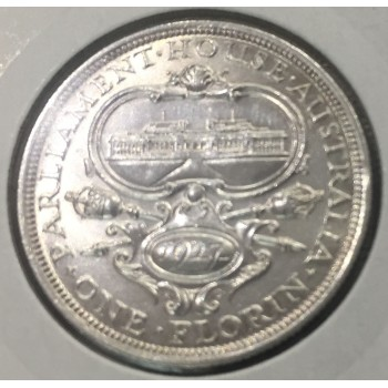 1927 AUSTRALIA FIRST COMMEMORATIVE SILVER ONE FLORIN - PARLIAMENT HOUSE