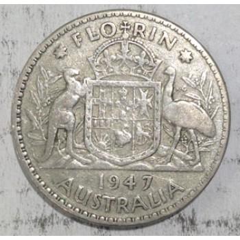 1947 AUSTRALIAN SILVER ONE FLORIN