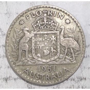 1951 AUSTRALIAN SILVER ONE FLORIN