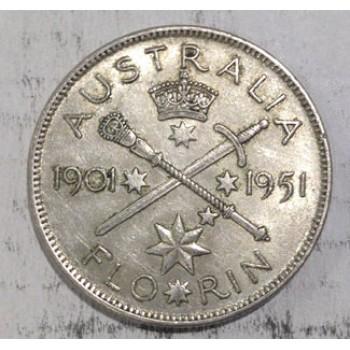 1951 AUSTRALIAN COMMEMORATIVE SILVER FLORIN - FEDERATION JUBILEE