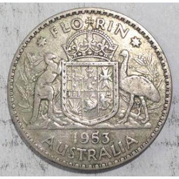 1953 AUSTRALIAN SILVER ONE FLORIN