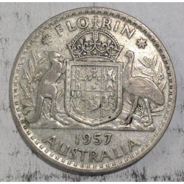 1957 Australian Silver One Florin Sydney Coins