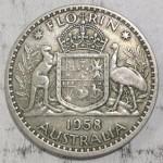 1958 AUSTRALIAN SILVER ONE FLORIN