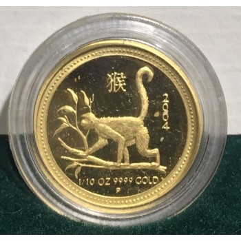 2004 Year of the Monkey 1/10oz Gold Proof Coin