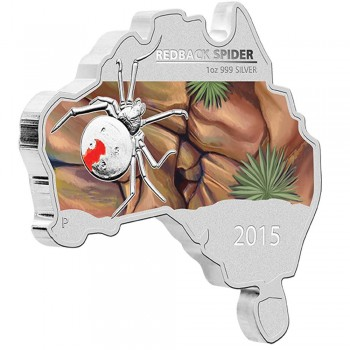 2015 Australian Map Shaped 1oz Silver Coin Series - Redback Spider