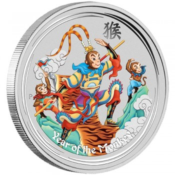 2016 Monkey King 1oz Silver Coloured Coin