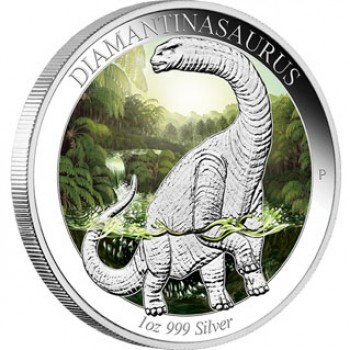 2014 Australian Age of the Dinosaurs 1oz Silver Proof - Diamantinasaurus