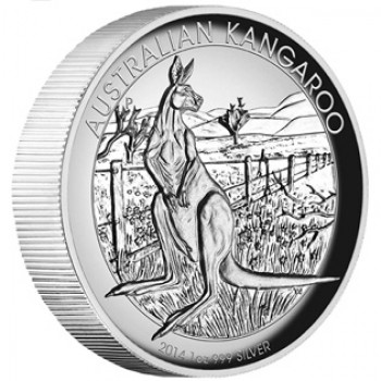 2014 Australian High Relief 1oz Silver Proof Kangaroo Coin