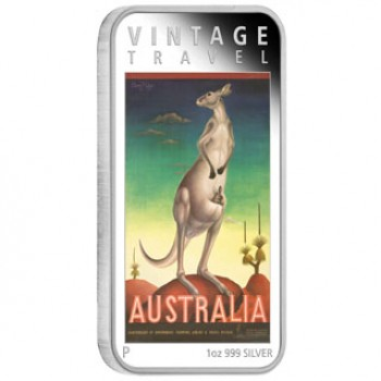 2014 Australian Vintage Travel Posters 1oz Silver Rectangle Coin