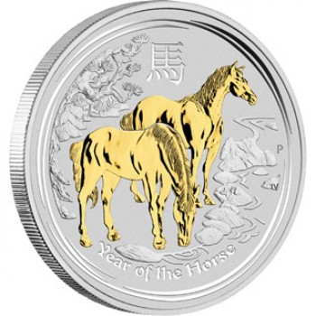 2014 CHINESE LUNAR YEAR OF THE HORSE 1oz SILVER GILDED COIN