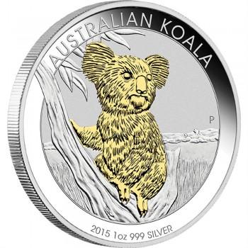 2015 Australian 1oz Silver Gilded Koala Coin