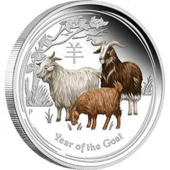 2015 Chinese Year of the Goat 1oz Coloured Silver Proof Coin