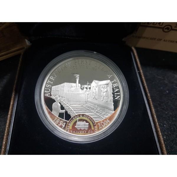2004 Australia First Steam Train 1oz Silver Proof Coin - Sydney
