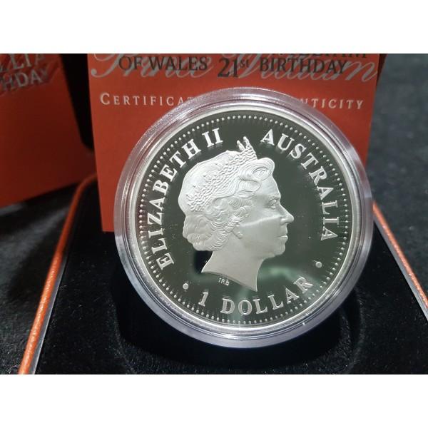 2003 HRH Price William Of Wales 21st Birthday 1oz Silver