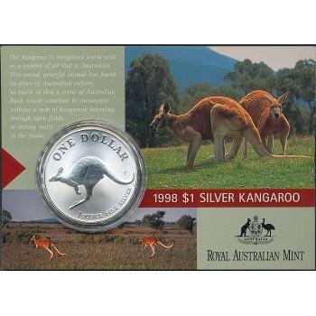 1998 Australian 1oz Silver Kangaroo Uncirculated Coin