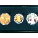 2001 Sir Donald Bradman 3-Coin Gold/Silver/Bronze Set