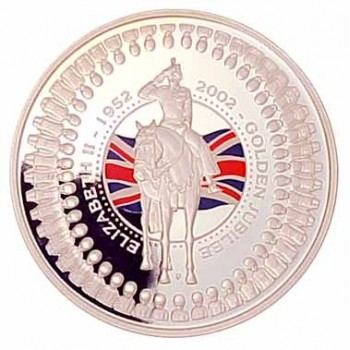 2002 Australia Golden Jubilee Queen Elizabeth II Accession 1oz Silver Proof Coin