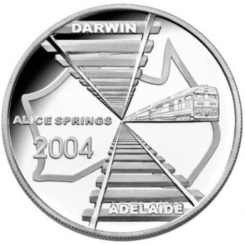 2004 Australia ADELAIDE TO DARWIN 1oz Silver Proof Coin
