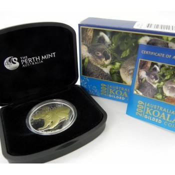 2009 Australian 1oz Silver Gilded Koala Coin