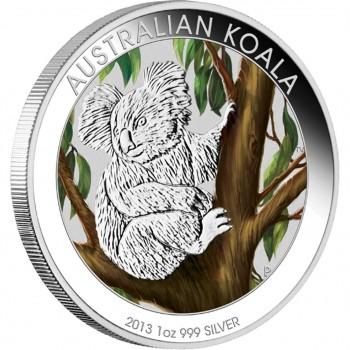 2013 AUSTRALIAN 1oz SILVER COLOURED KOALA COIN
