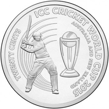 2015 ICC CRICKET WORLD CUP 20c UNCIRCULATED COIN