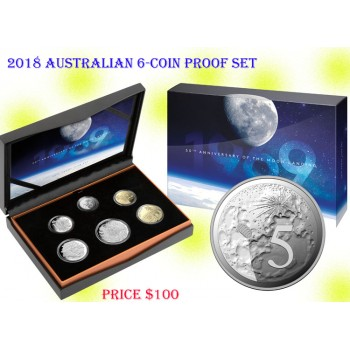 2019 Australia 6-Coin Proof Set 50th Anniversary of the Moon Landing