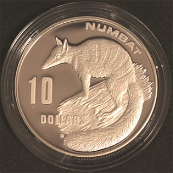 1995 Australian Endangered Species $10 Silver Proof Coin Series - Numbat
