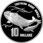 1996 AUSTRALIA'S ENDANGERED SPECIES PIEDFORT SILVER PROOF - SOUTHERN RIGHT WHALE