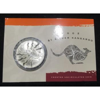 2002 Australian 1oz Silver Kangaroo Uncirculated Coin