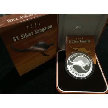 2004 Australian 1oz Silver Kangaroo Proof Coin