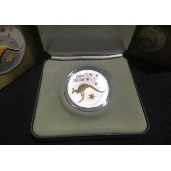 2005 Australian Selective Gold Plated 1oz Silver Kangaroo Coin