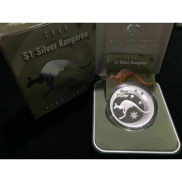 2005 Australian 1oz Silver Proof Kangaroo Coin Sydney
